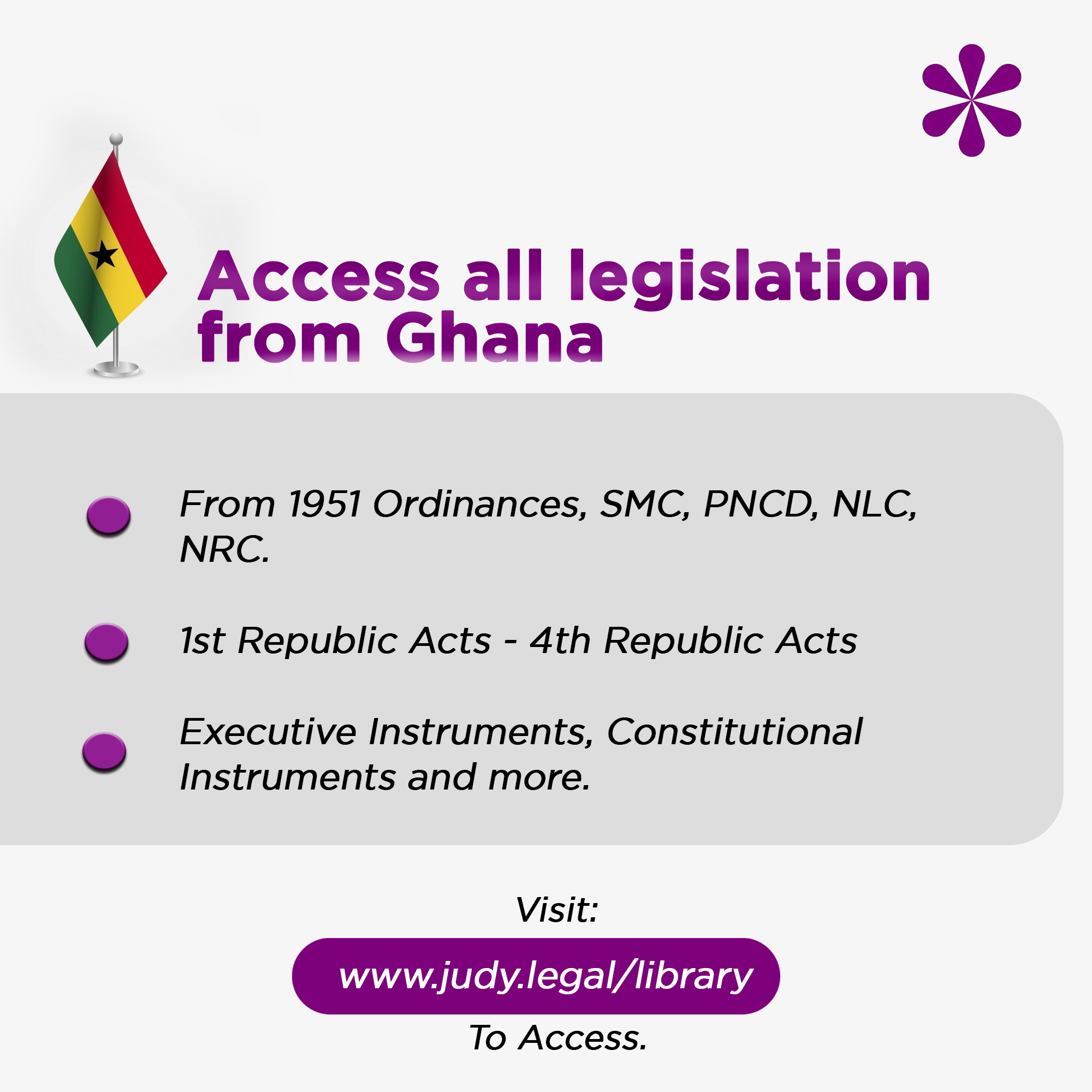 Legislations from Ghana now available on JUDY